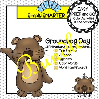 EASY PREP Groundhog Day Math and Literacy Center Activities Bundle