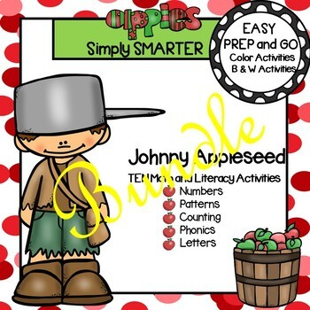 EASY PREP Johnny Appleseed Math and Literacy Center Activities Bundle
