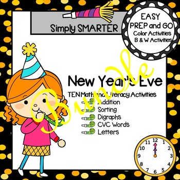 EASY PREP New Year's Eve Math and Literacy Center Activities Bundle