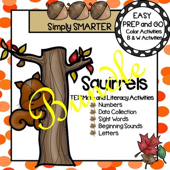 EASY PREP Squirrel Math and Literacy Center Activities Bundle