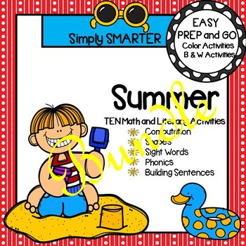 EASY PREP Summer Math and Literacy Center Activities Bundle