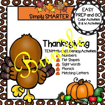 EASY PREP Thanksgiving Math and Literacy Center Activities Bundle