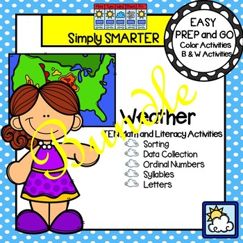 EASY PREP Weather Math and Literacy Center Activities Bundle