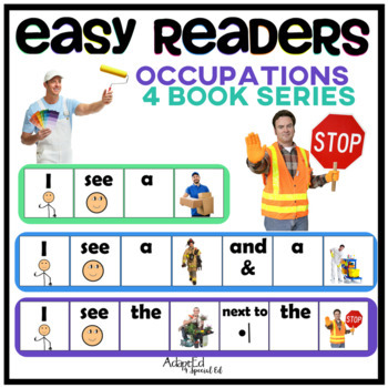 EASY READER Occupation Community Helpers Adapted Book 4 Set