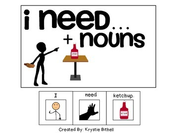 EASY READER... I need + Nouns Adapted Book Special Education Autism