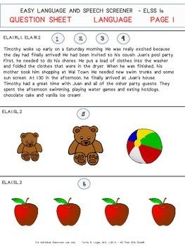 EASY LANGUAGE & SPEECH SCREENER (ELSS 1) First Grade