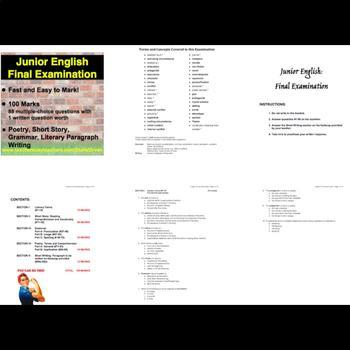 EASY TO MARK Junior English Final Exam: 88 MC & 1 Paragraph Response - 100 Marks