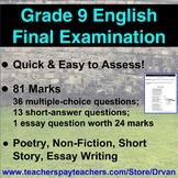 EASY TO MARK - Grade 9 English Final Exam: Multiple Choice, Short Answer, Essay