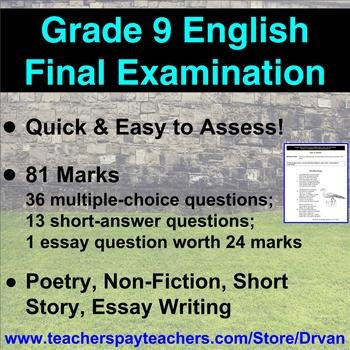 grade  english final exam multiple choice short answer essay originaljpg