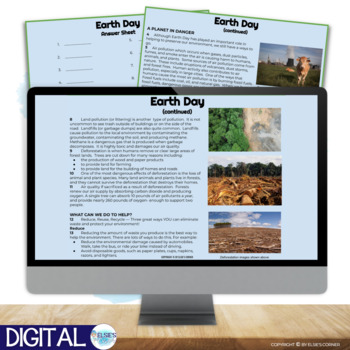 Earth Day Reading Comprehension - Informational Text * Questions * Foldable 3-5