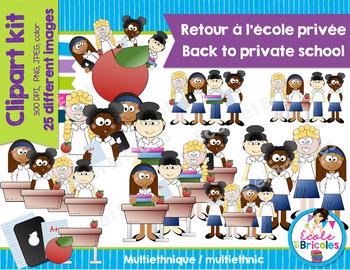 Clipart Back to private school (girls multiethnics)