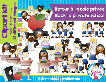 Clipart Back to private school (girls multiethnics)