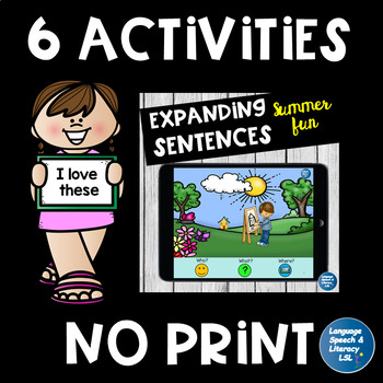 No Print, 6 Fun Language Activities for iPad, Tablet, Computer, Teletherapy