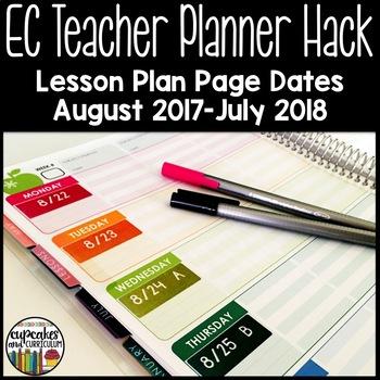 EC Teacher Planner Hack - 17-18 Lesson Plan Page Dates