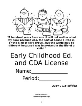 Early Childhood Education B course note taking workbook
