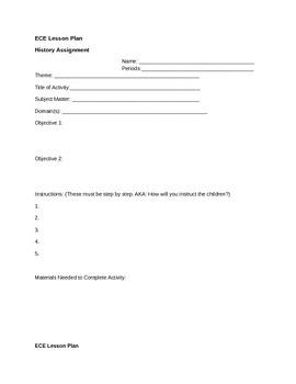 ECE Student Lesson Plan Templates