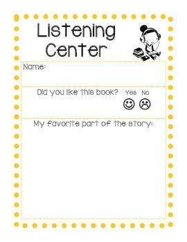 ECE/PreK/Kindergarten, Listening Center Reflection Report