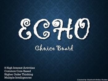 ECHO Choice Board Tic Tac Toe Novel Study Activities Menu Assessment Project