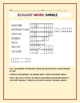 ECOLOGY ACTIVITY:  SCIENCE WORD JUMBLE