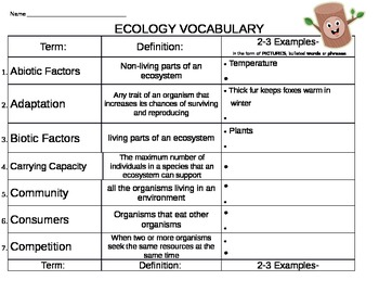 ECOLOGY VOCABULARY DEFINITIONS, EXAMPLES & CROSSWORD-EDITABLE
