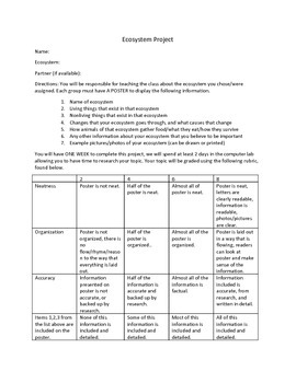 ECOSYSTEM Project guidelines/grading rubric