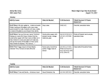 ECSE Lesson Plans - Creative Curriculum Beginning of Year Study (Week 1)/School