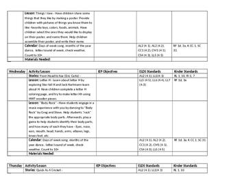 ECSE Lesson Plans: Theme 10 All About Me