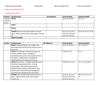 ECSE Lesson Plans: Theme 9 Farm - Harvest