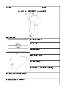 ECUADOR COUNTRY RESEARCH WORKSHEET