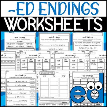 ED Endings Worksheets