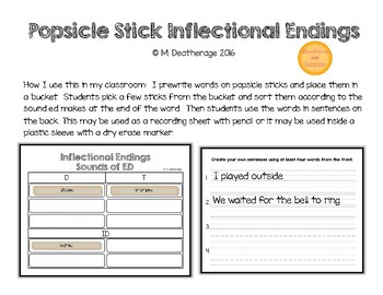 ED Inflectional Ending Popsicle Stick Sorting Mat and Sentence Practice