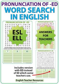 ED Pronunciation - English Word Search
