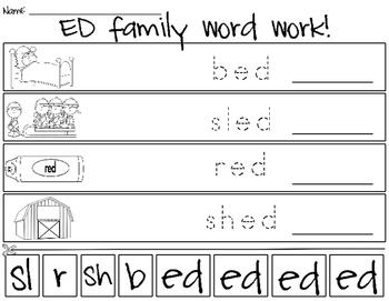 ED Word Family Word Work