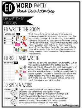 ED Word Family Word Work Activities