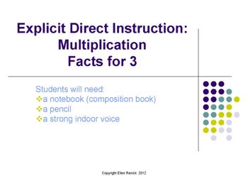 EDI Common Core Multiplication Fact Lesson and Practice for Products of 3