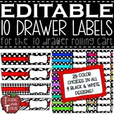 EDITABLE 10 Drawer Rolling Cart Labels
