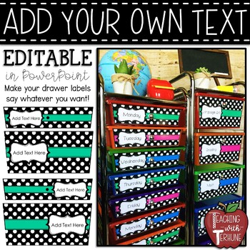 EDITABLE 10 and 5 Drawer Rolling Cart Labels {Bundle}