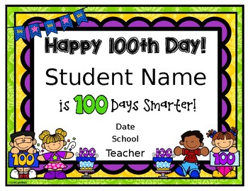 EDITABLE 100th Day Certificate