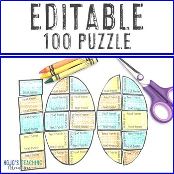 EDITABLE 100th Day of School Puzzle: Make a Math or Literacy Activity Game