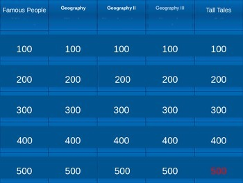 EDITABLE 1st Grade Social Studies Review Jeopardy Game PPT