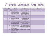 "EDITABLE 1st Grade TEKS checklist and ""I Can"" statements"