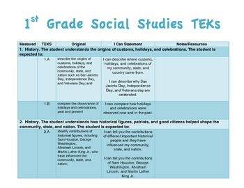 """EDITABLE 1st Grade TEKS checklist and """"I Can"""" statements"""