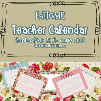 EDITABLE 2 Year Teacher Calendar {Horizontal}