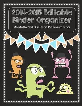 EDITABLE Teacher Binder Organizer Planner- Monster Chalkboard Theme