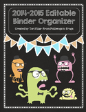 EDITABLE Teacher Binder Organizer Planner- Monster Chalkbo