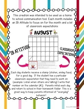 EDITABLE 2017-18 School Year Calendar with Monthly IB Attitudes
