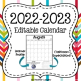 EDITABLE 2019-20 School Year Calendar with Monthly IB Attitudes