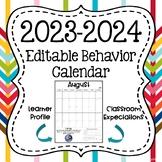 EDITABLE 2018-19 School Year Calendar with Monthly IB Attitudes