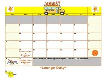EDITABLE 2015-2016 School Calendar with clipart