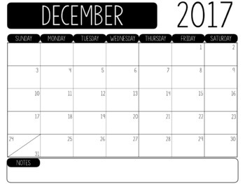 2018-2019 Monthly Planning Calendars